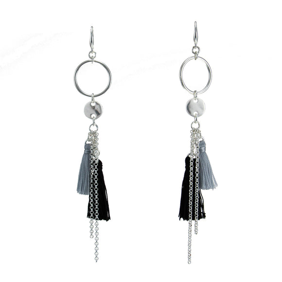 Merx fashion jewellery earring Shiny Silver Black large + Lt grey small tassel