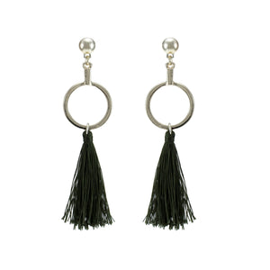 Merx fashion jewellery light gold with khaki tassel earrings