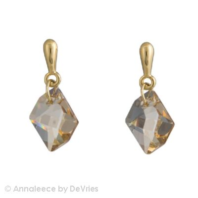 22k Gold earrings .   with natural cut light colorado topaz  SWAROVSKI ELEMENTS, posts; 1