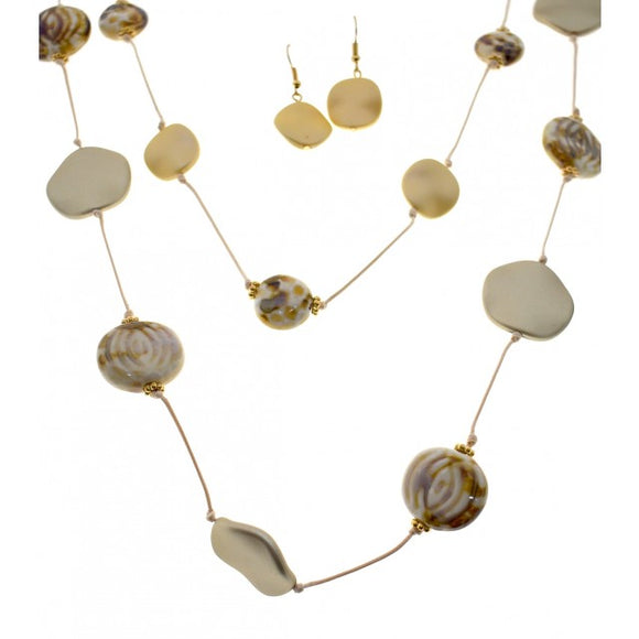 shell and ceramic  fashion jewellery necklace and earring set