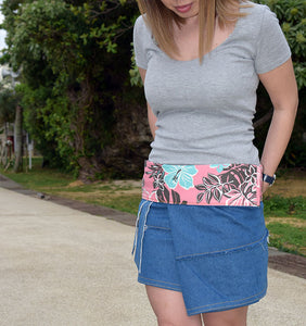Wild Turquoise Hibiscus Beach Sunset Skirt - Yando