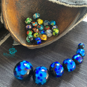 Deep Blue Okinawa Japan Firefly Glass Beads 8mm 10mm 12mm 14mm 15mm 18mm 20mm - Yando