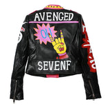 WOMEN's Colorful Patch Designs Graffiti Print Faux Leather Jacket