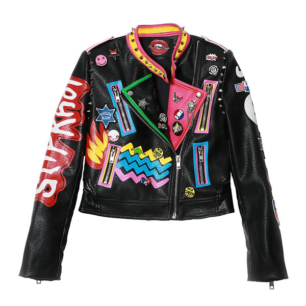 WOMEN's Patch Design Graffiti Print Faux Leather Jacket