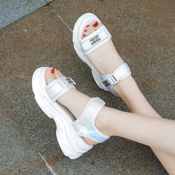 WOMEN's Buckle Design Platform Sandals