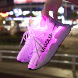 UNISEX Super Light Led Fiber Optic USB Recharge Glowing Sneakers