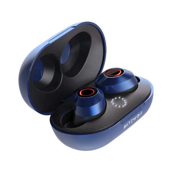 shiny blue earbuds in a blue case with open lid