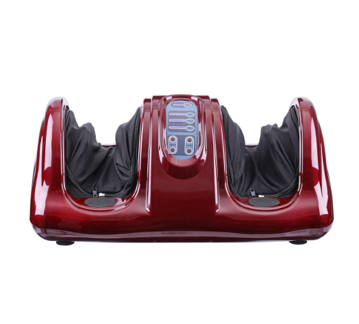 red foot and leg massager front view with blue control panel