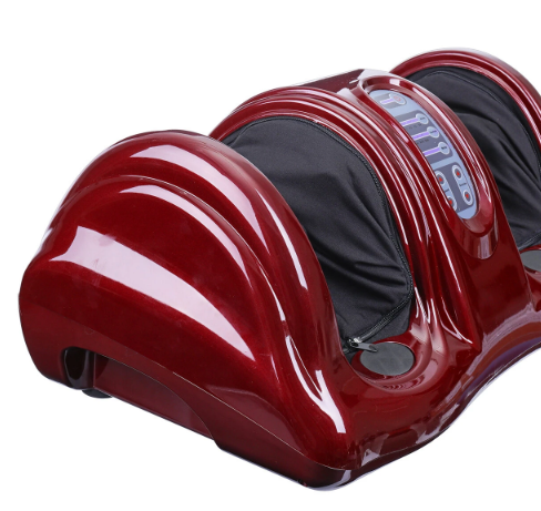 side view of red foot and leg massager with black zip out fabric in leg and feet grooves