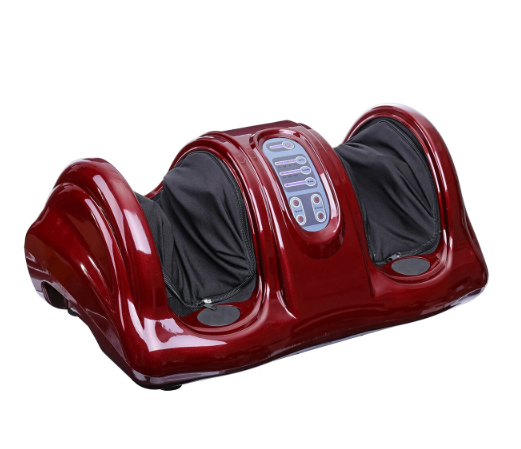 red foot and leg massager side view with blue control panel