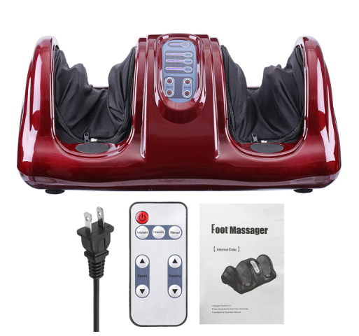 red foot and leg massager with black plug, remote and manual