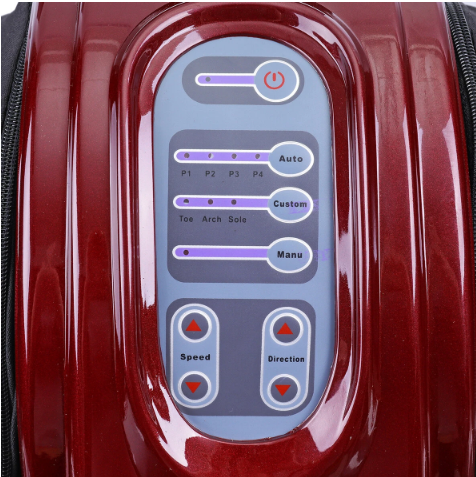 shiny red leg and foot massager with close up view of blue control panel, on , off, auto, custom, manual, speed and direction controls