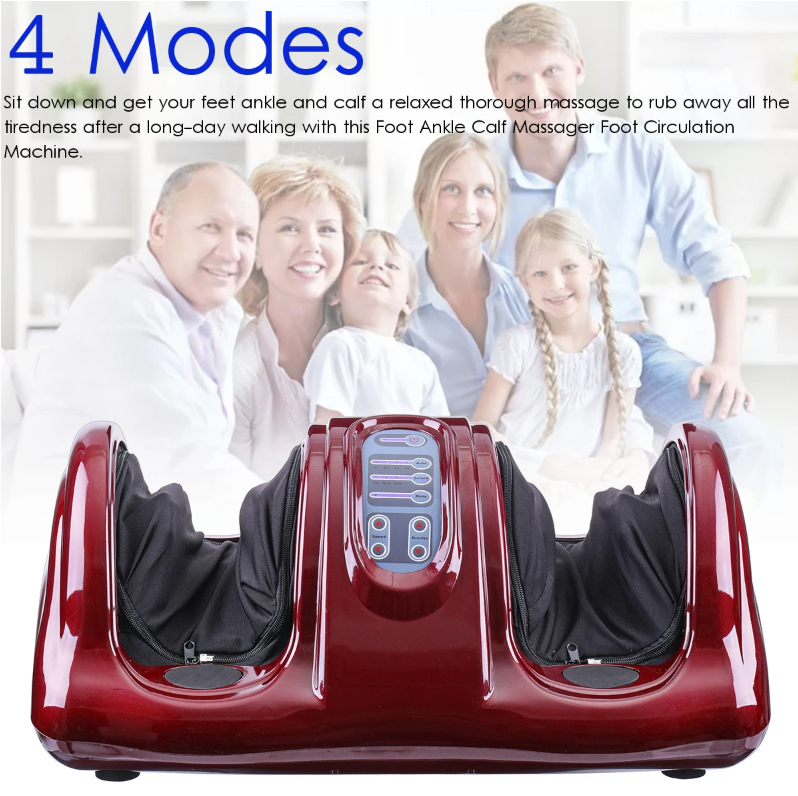 red foot and leg massager with 2 generations of family behind it, grandparents, boy and girl, mother and father