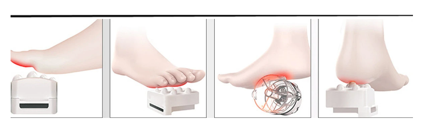 diagram of foot and how the leg and foot massager use rollers and pressure on toes, pads, arch and heel
