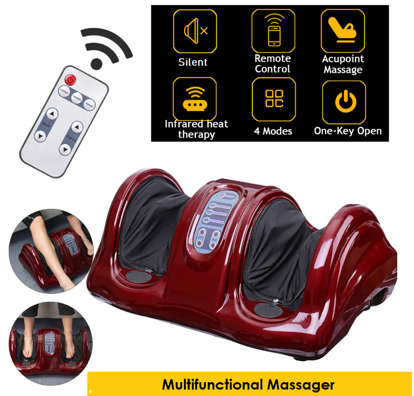 3 views of red leg and foot massager wiht remote control and chart with symbols for silent, remote control, acupoint massage, infrared heat therapy, 4 modes and one-key open