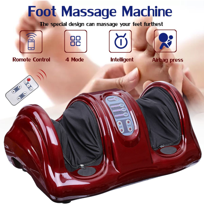 foreground red leg and foot massager, background soles of feet with hand massaging pad of left foot