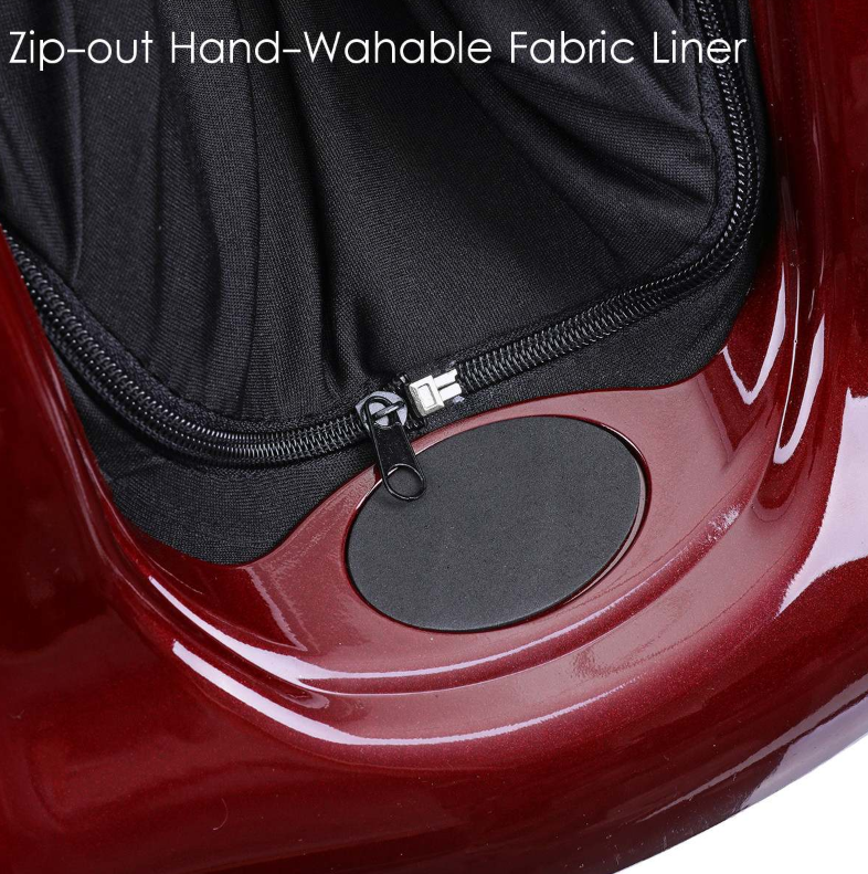 close up of black zip out washable fabric on red leg and foot massager