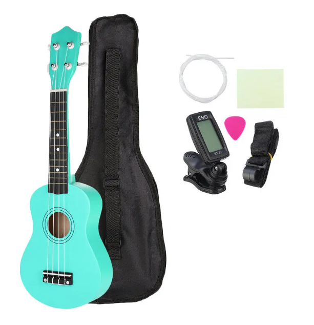 spearmint green ukulele with black bag, extra stings, black clip on tuner, black strap, pink pick and a cleaning cloth