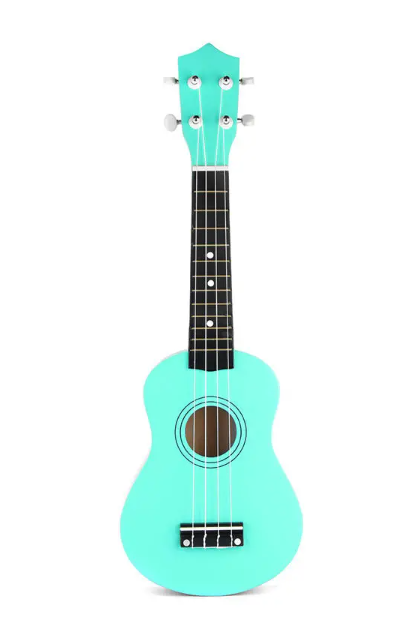 front view of spearmint color ukulele with black fret