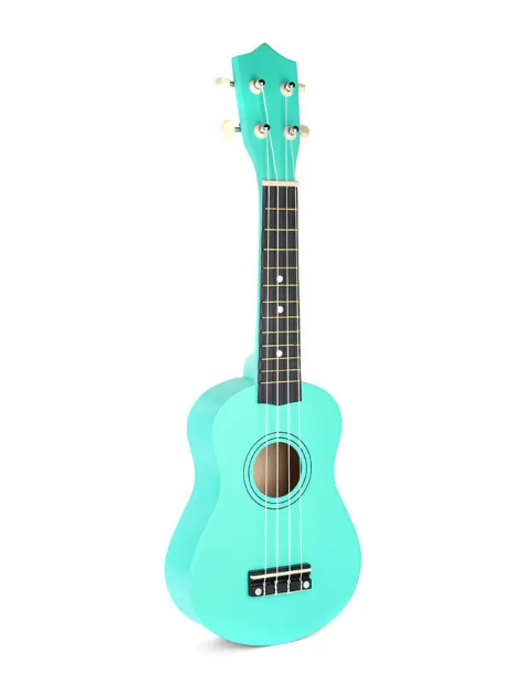 spearmint green ukulele with black fret standing on its base