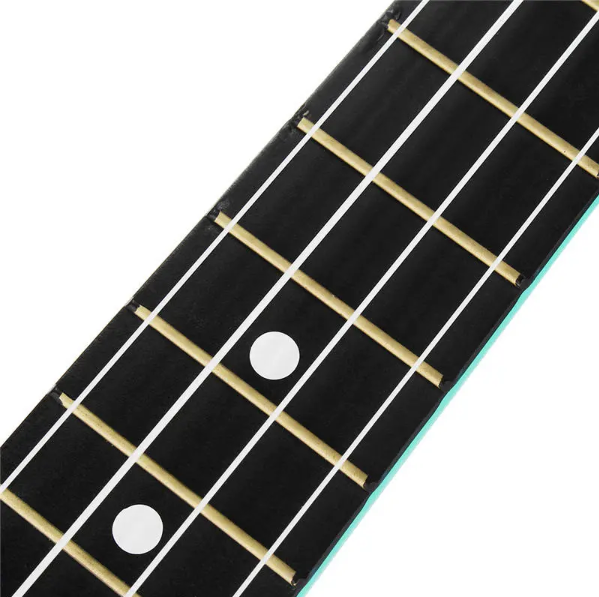 close up of black fret board