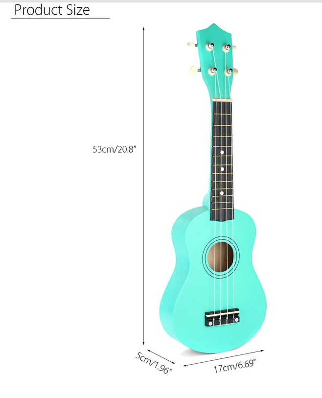 diagram of spearmint color ukelele size, 20.8 inches high by 1.96 inches deep by 6.69 inches wide