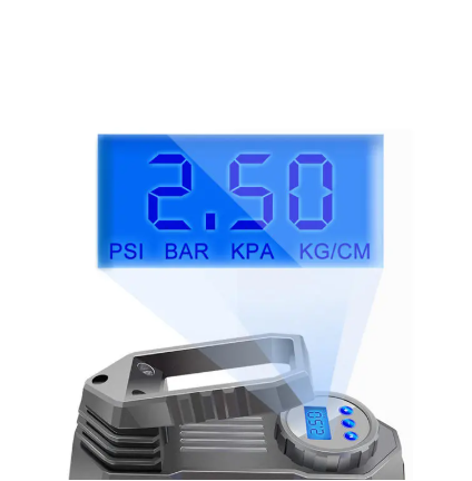view of blue digital display with PSI, BAR, KPA and KG/CM