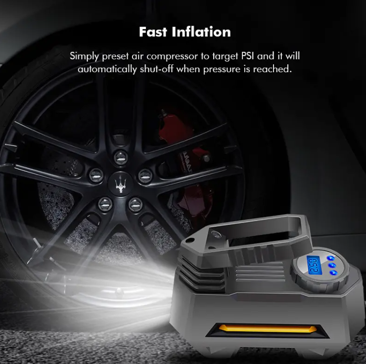 Compressezy™ Portable 12V Air Compressor Tire Pressure Pump with light turned on beside black car and tire at night