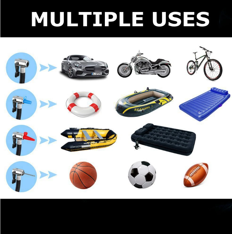 chart of multiple uses, car, motorbike, bicycle, inflatable raft, blow up bed, sports balls
