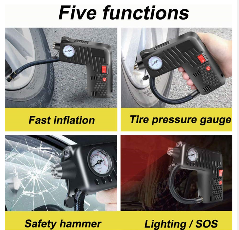 5 functions of 12V Portable Air Tire Compressor Inflator Pump, fast inflation, pressure gauge, safety hammer and lighting SOS