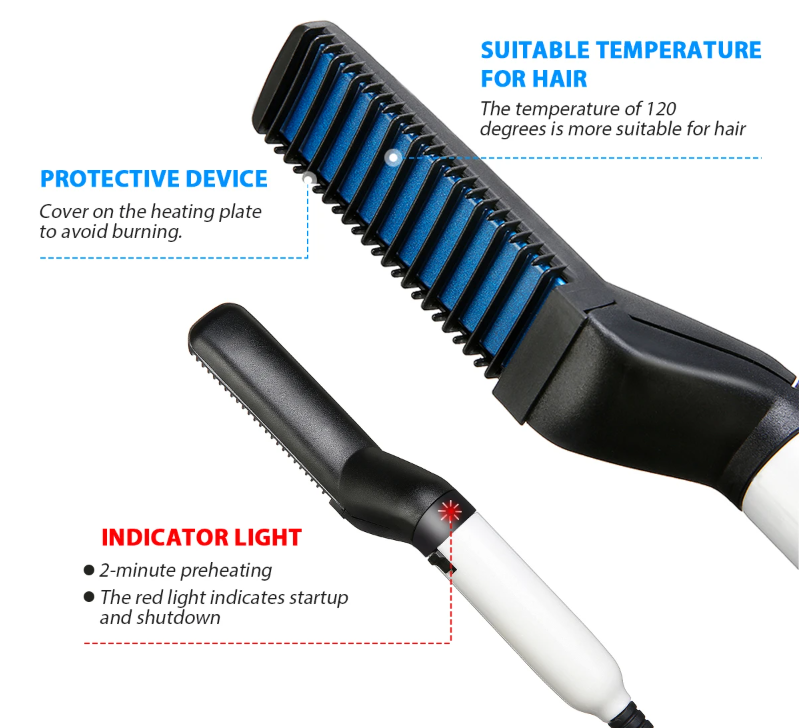 Homme Elegant™ Multifunction Beard Hair Straightener Ceramic Brush Comb