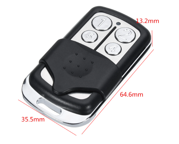 4 Buttons 390MHz Garage Door Remote Control Key for Liftmaster Chamberlain with chrome color buttons on top half of small 35.5mm wide, by 64.6mm long by 13.2mm deep remote with sliding panel