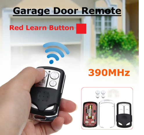 4 Buttons 390MHz Garage Door Remote Control Key for Liftmaster Chamberlain pointed to garage door with blue signal