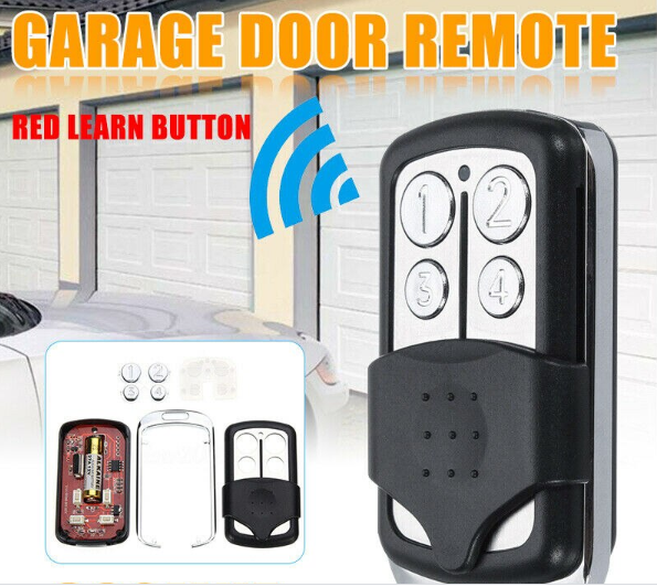 close up of 4 Buttons 390MHz Garage Door Remote Control Key for Liftmaster Chamberlain in front of garage doors and small inlaid photo of inside of the remote