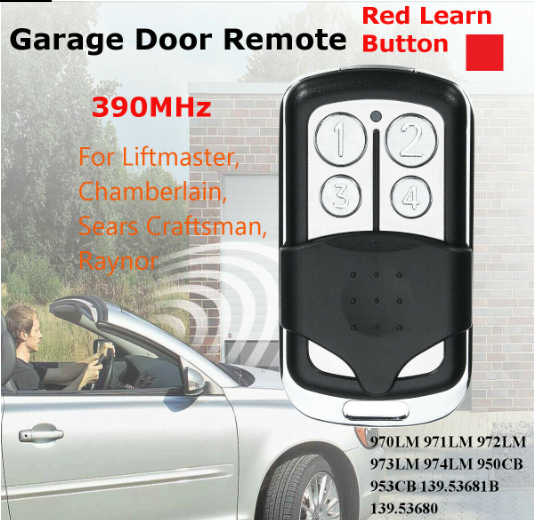 4 Buttons 390MHz Garage Door Remote Control Key for Liftmaster Chamberlain close up with man driving silver car pointing remote at garage door
