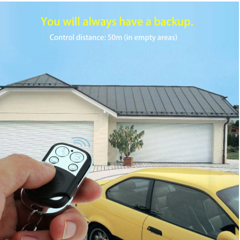 hand holding 4 Buttons 390MHz Garage Door Remote Control Key for Liftmaster Chamberlain pointing to garage door with yellow car parked outside it