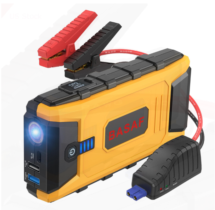 Yellow and black 12V Ultra Safe Lithium Car Jump Starter Power Pack with one red and one black dog clamp