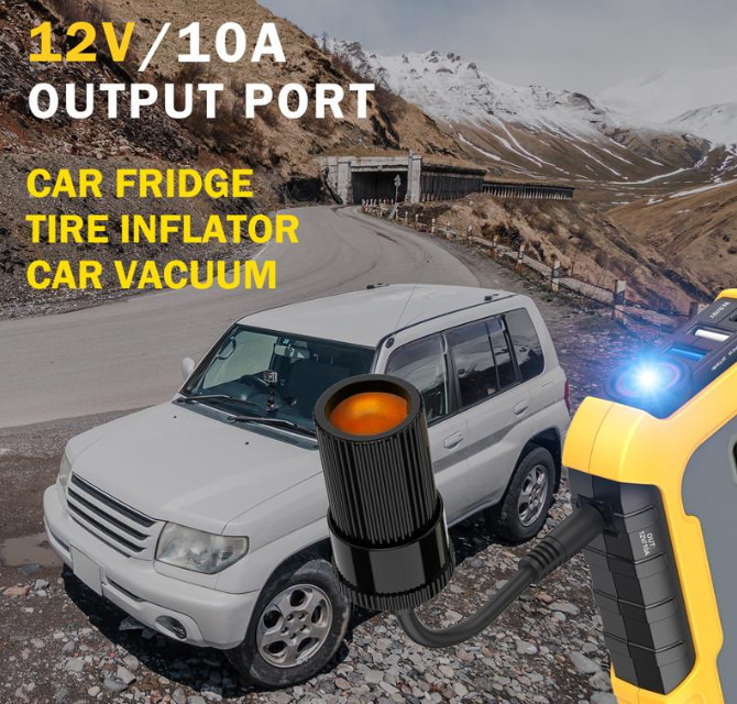 white SUV on side of mountain with yellow 12V Ultra Safe Lithium Car Jump Starter Power Pack showing light