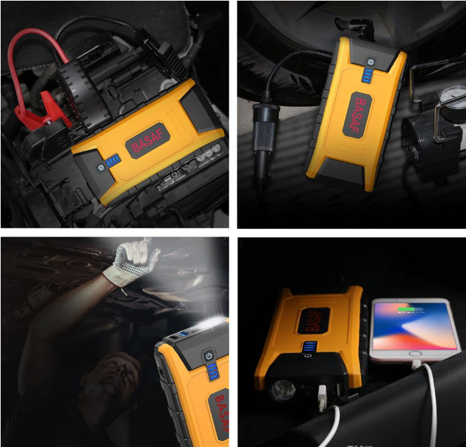 top left yellow 12V Ultra Safe Lithium Car Jump Starter Power Pack with clamps on battery, top right on car seat, bottom left being used as a torch, bottom right charging a cell phone.