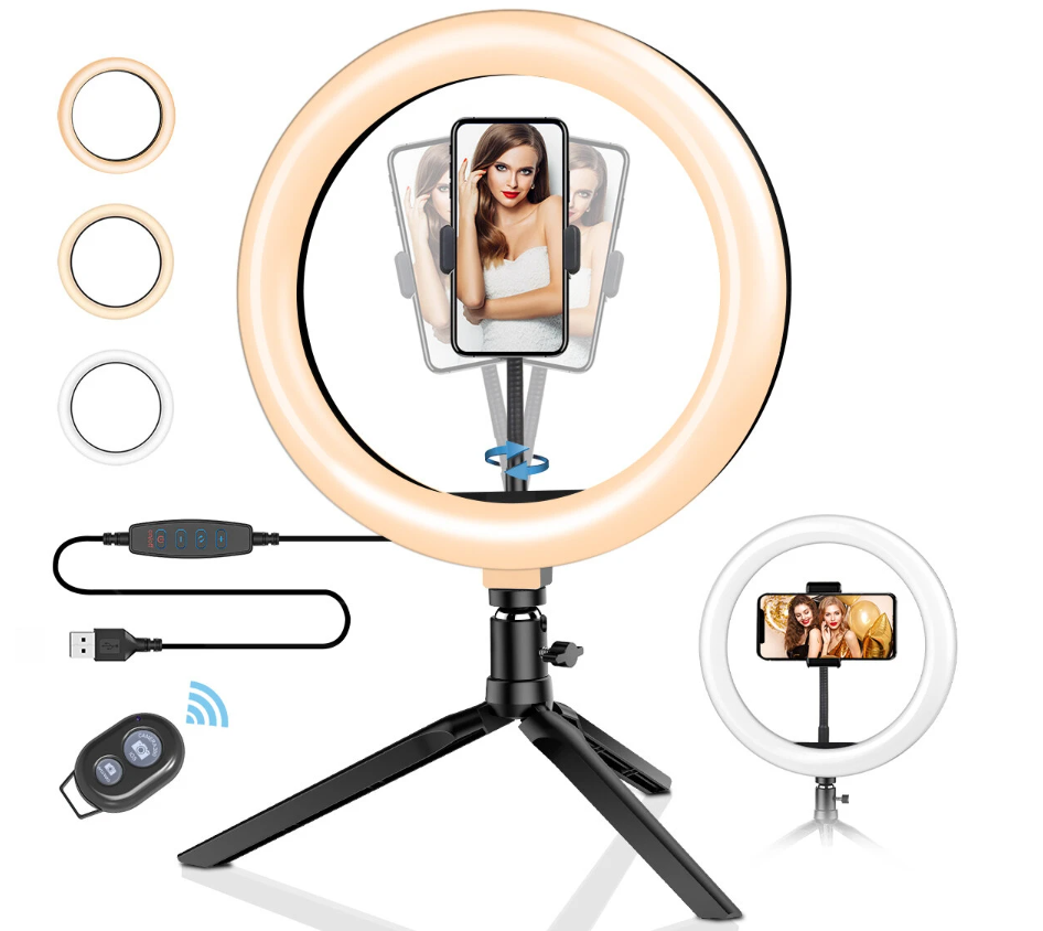 Ring light with tripod and phone clamp in the centre