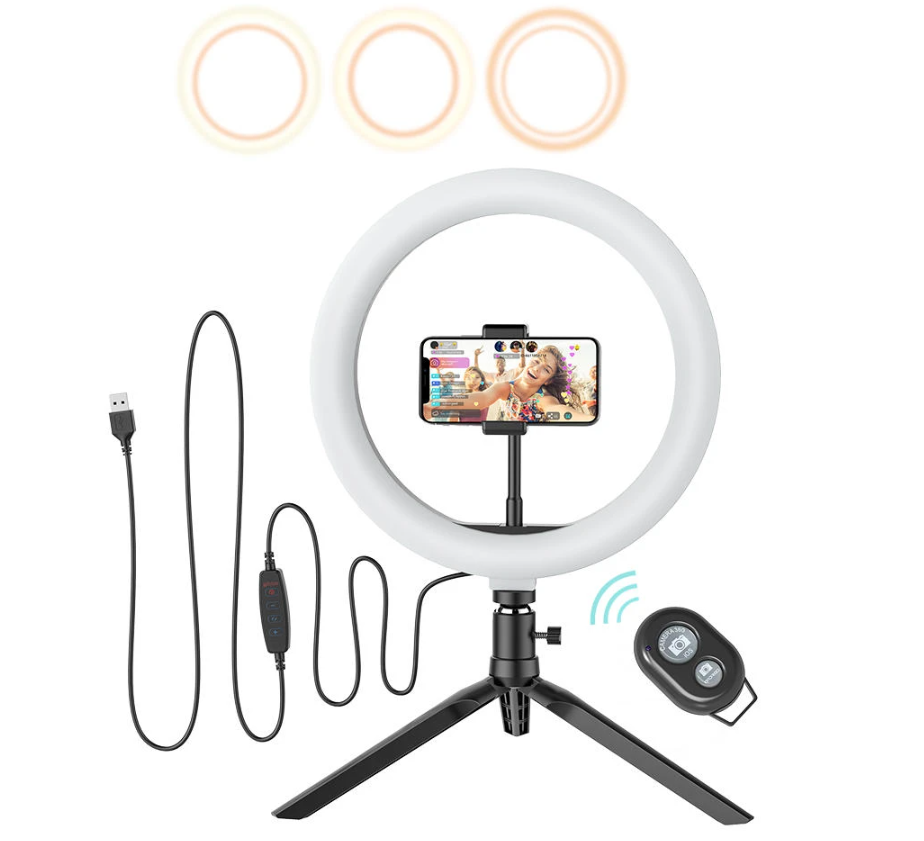BlitzWolf®Ring Light Tripod Stand for TikTok Youtube LiveStream Makeup with remote and USB cord