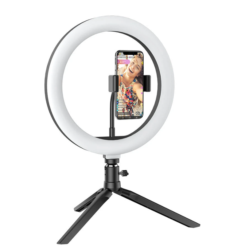 BlitzWolf®Ring Light Tripod Stand for TikTok Youtube LiveStream Makeup with phone in center of ring