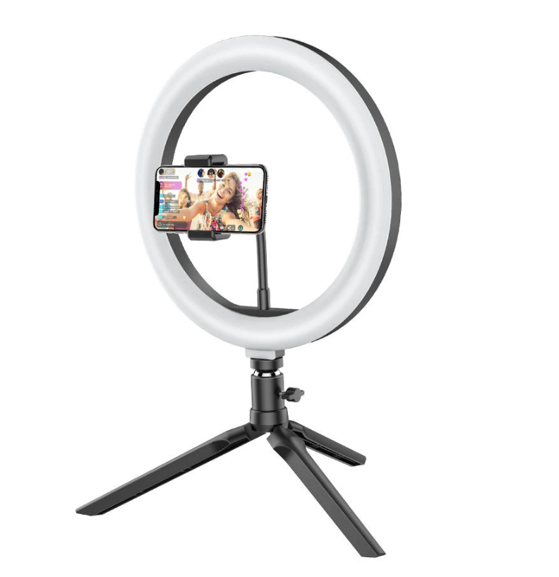 BlitzWolf®Ring Light Tripod Stand for TikTok Youtube LiveStream Makeup on black tripod wiht phone on clamp in center of ring