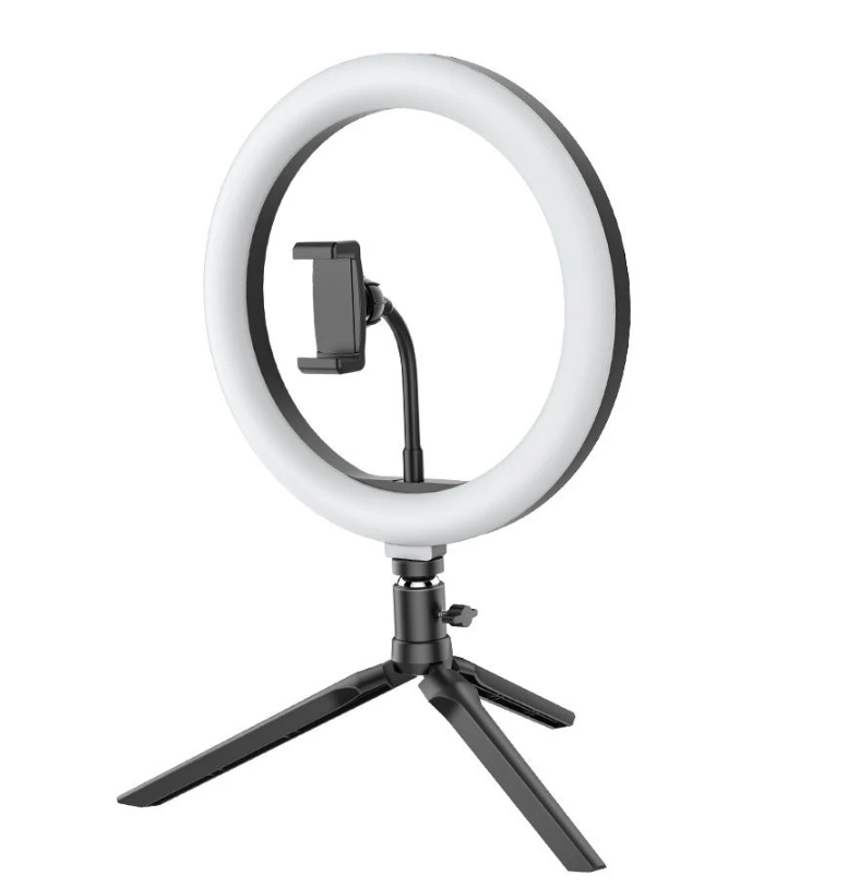 BlitzWolf®Ring Light Tripod Stand for TikTok Youtube LiveStream Makeup standing on black tripod with phone clamp in center of the ring