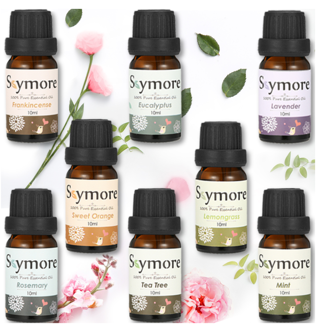8 10ml bottles of Skymore essential oils with pink flowers and green leaves entwined