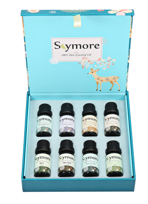 Skymore box with lid open with 8 10ml bottles of essential oils packed in