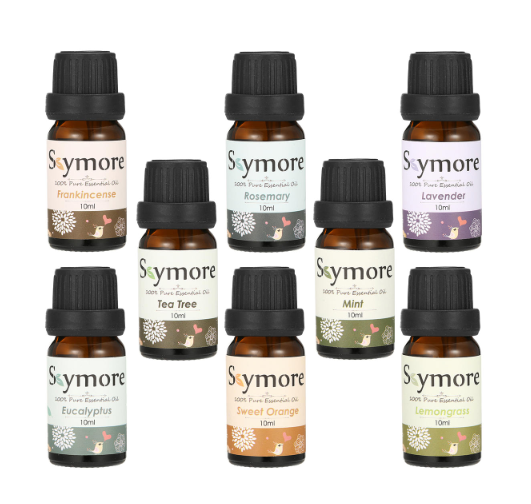 8 10ml bottles of essential oils labeled Skymore