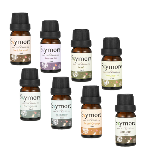 8 10ml bottles of essential oils labeled Skymore set in 2 rows diagonally