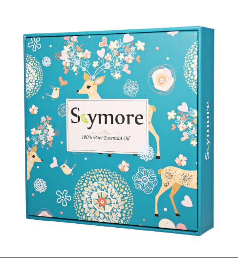 Blue decorated Skymore Essential Oil box decorated with deer, flowers and birds