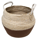 Two Colors  Woven Storage Basket With Handles